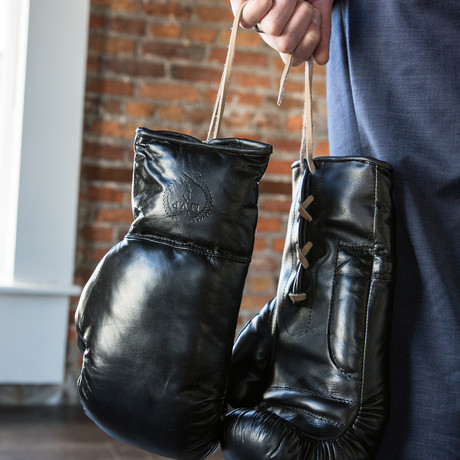Executive Lace Up Leather Boxing Gloves // Black