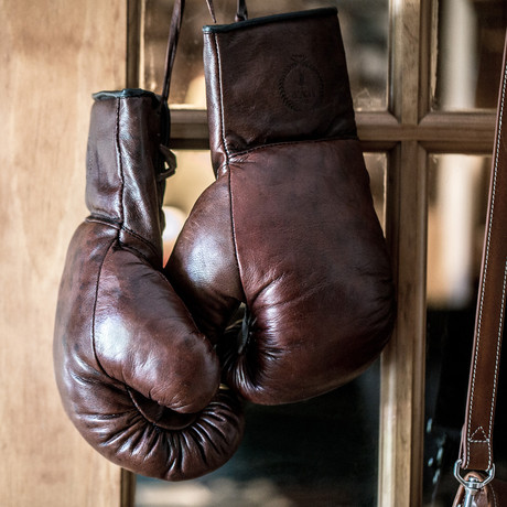 Lace Up Leather Boxing Gloves // Heritage Brown