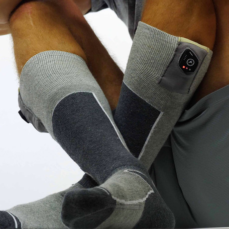 FNDN Heated 3.7V Sports Socks // Gray (S/M)