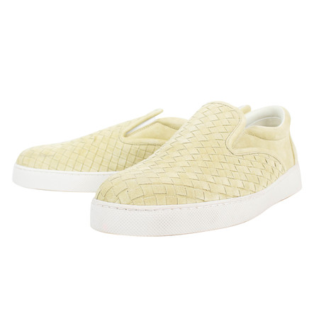 Bottega Veneta // Suede Woven Slip On Sneakers // Pale Yellow (US: 10)