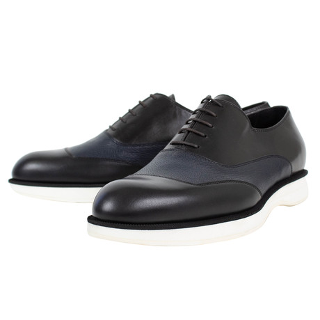 Bottega Veneta // Oxford Leather Dress Shoes // Black + Navy Blue (US: 10)
