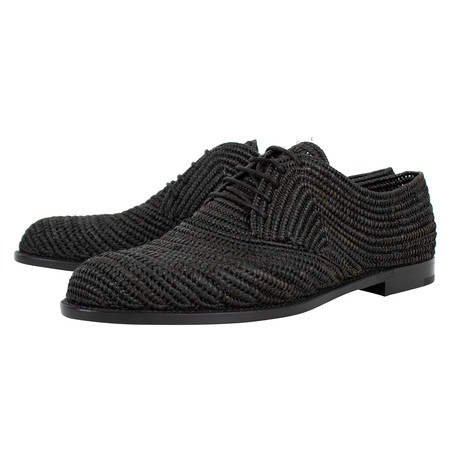 Bottega Veneta // Straw Derby Leather Dress Shoes // Black (US: 10)
