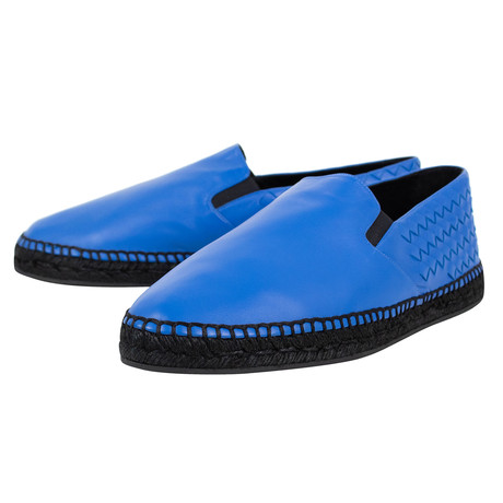Bottega Veneta // Weaved Leather Espadrille Shoes // Blue (US: 10)