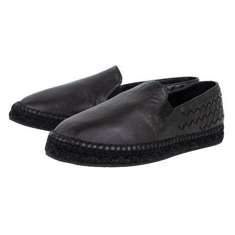 Bottega Veneta // Weaved Leather Espadrille Shoes // Black (US: 10)