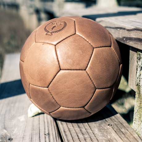 Deluxe Leather 32P Soccer Ball // Tan