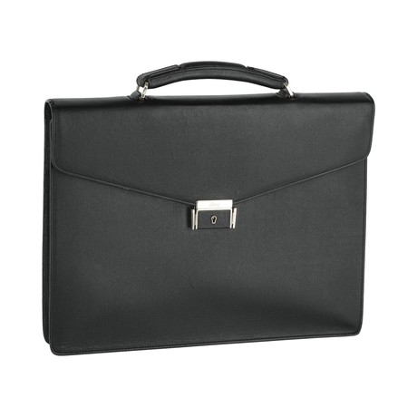 Business Briefcase // Black + Gray + Blue