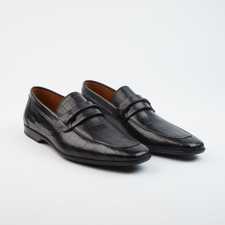 Adriel Croco Loafer // Black (US: 7.5)