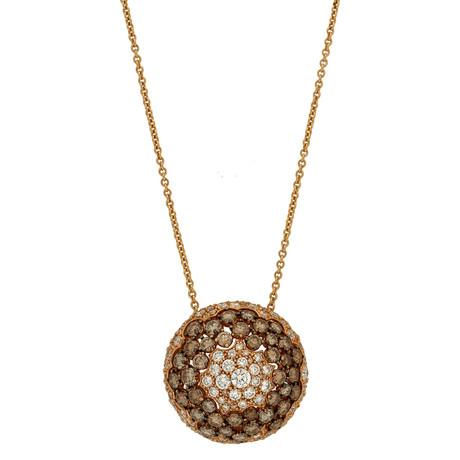 Stefan Hafner 18k Rose Gold White Diamond + Brown Diamond Necklace