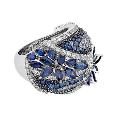 Stefan Hafner 18k White Gold Diamond + Sapphire Ring // Ring Size: 5.75