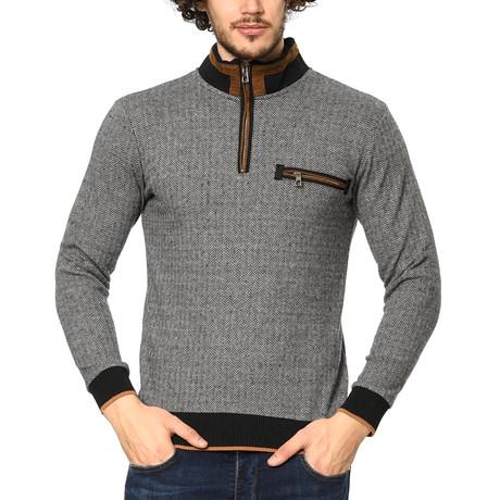 1022 Dewberry Sweatshirt // Patterned Light Gray + Navy (L)