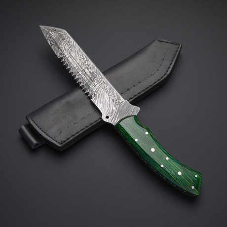 Fixed Blade Damascus Steel Tracker Knife // HB-0403