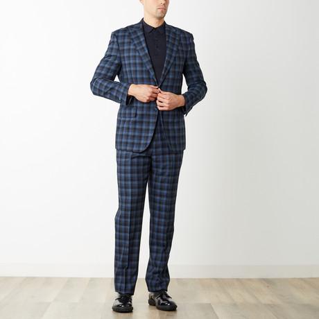 2BSV Peak Lapel Suit // Navy Tonal Plaid (US: 36S)