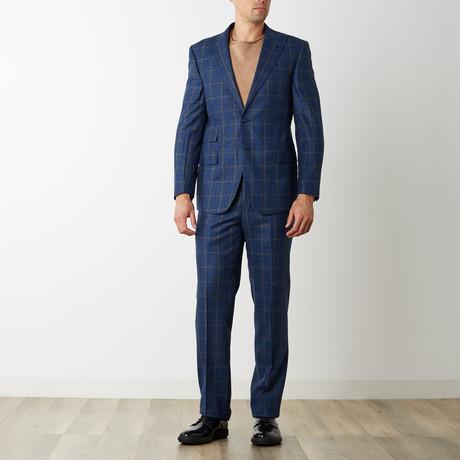 2BSV Peak Lapel Suit // Blue Charcoal Plaid (US: 36S)
