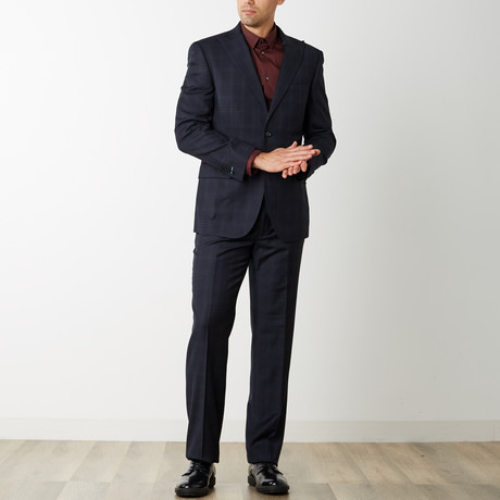 2BSV Peak Lapel Suit // Navy Tonal Plaid (US: 42R)