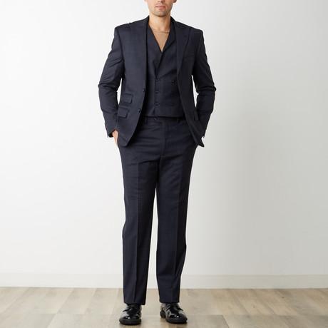 2BSV Peak Lapel Vested Suit // Navy Burgundy Plaid (US: 36S)