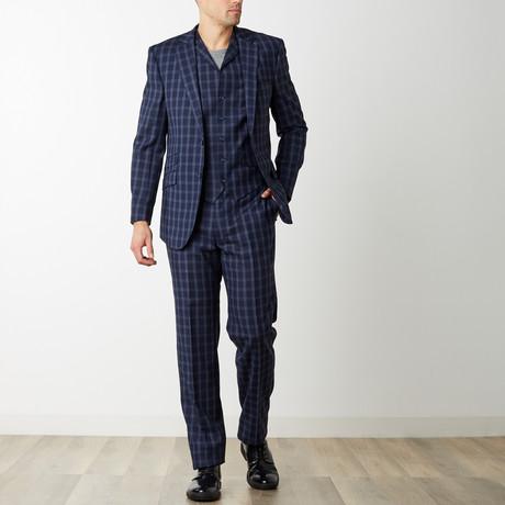 2BSV Notch Lapel Vested Suit // Navy Plaid (US: 36S)