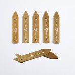 Brass Adjustable Collar Stays + Tin Case