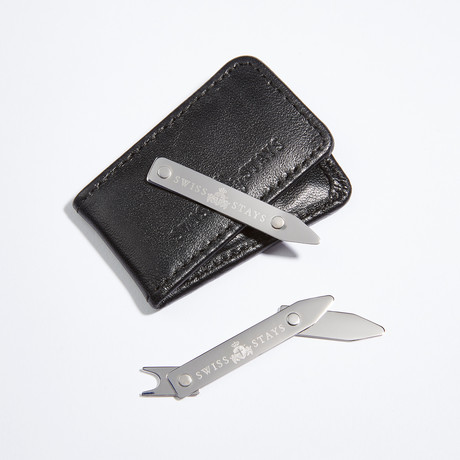 Sterling Silver Adjustable Collar Stays + Leather Pouch