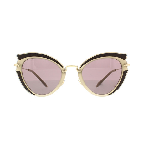 Miu Miu // Women's Geometric Sunglasses // Beige Black + Brown Purple