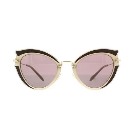 Miu Miu // Women's Geometric Sunglasses // Beige Black + Brown Purple