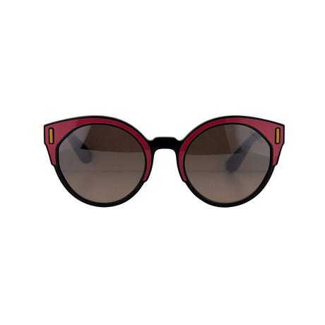 Prada // Women's Sunglasses // Black Fuschia Yellow Brown + Browb Grad Silver Mirror