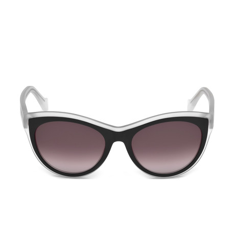 Balenciaga // Women's Cat Eye Sunglasses // Black Crystal + Brown Gradient