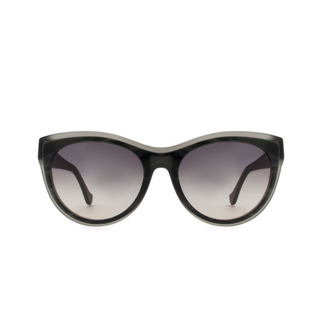 Balenciaga // Women's Cat Eye Sunglasses // Horn Transparent Grey + Brown