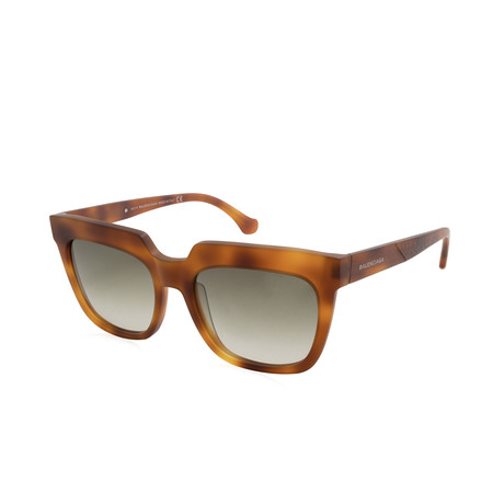 Balenciaga // Women's Large Square Sunglasses // Blond Havana + Brown Gradient