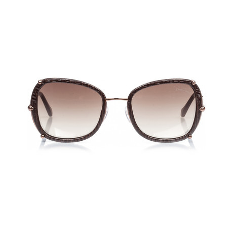 Roberto Cavalli // Women's Oversize Square Sunglasses // Bronze-Leather + Gradient Brown Flash Gold