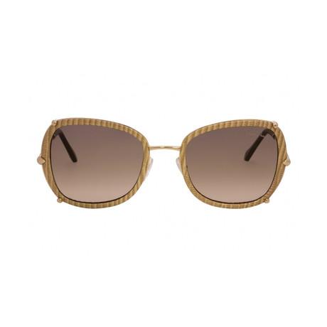 Roberto Cavalli // Oversize Square Sunglasses // Gold + Smoke Gradient