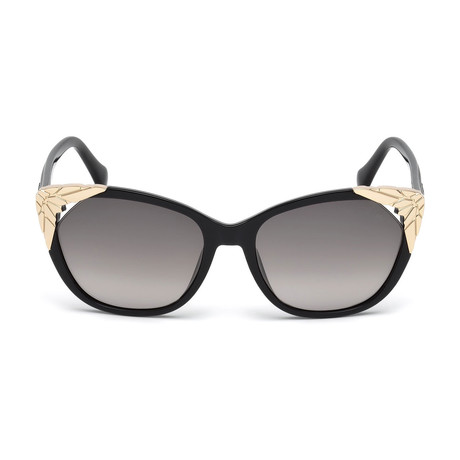 Roberto Cavalli // Women's Cat-Eye Sunglasses // Shiny Black + Gradient Smoke