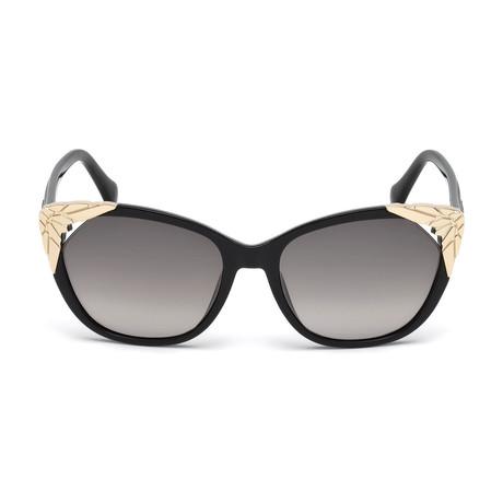 Roberto Cavalli // Cat-Eye Sunglasses // Shiny Black + Gradient Smoke