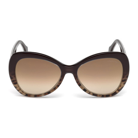 Roberto Cavalli // Womems Large Tear-Drop Sunglasses // Dark Brown + Other + Brown Mirror