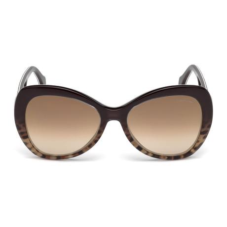 Roberto Cavalli // Large Tear-Drop Sunglasses // Dark Brown + Brown Mirror