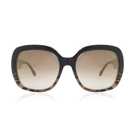 Roberto Cavalli // Womems Large Square Sunglasses // Dark Brown + Other + Brown Mirror