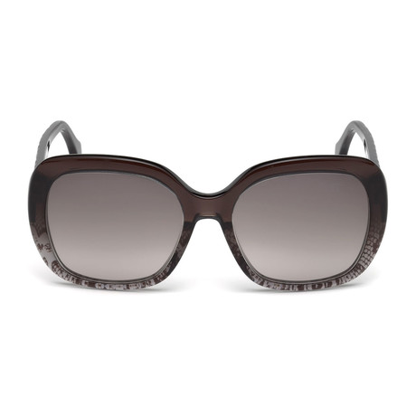 Roberto Cavalli // Womems Large Square Sunglasses // Shiny Black + Gradient Smoke