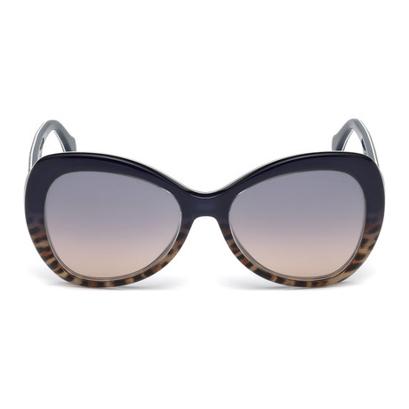 Roberto Cavalli // Large Tear-Drop Sunglasses // Blue + Blue Mirror