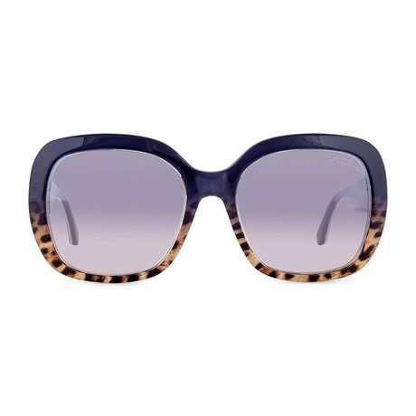 Roberto Cavalli // Women's Large Square Sunglasses // Blue + Other + Blu Mirror