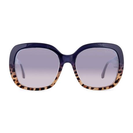 Roberto Cavalli // Large Square Sunglasses // Blue + Blue Mirror