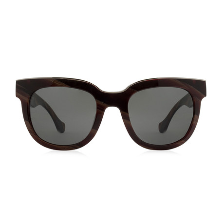 Balenciaga // Women's Round Sunglasses // Brown + Grey Gradient