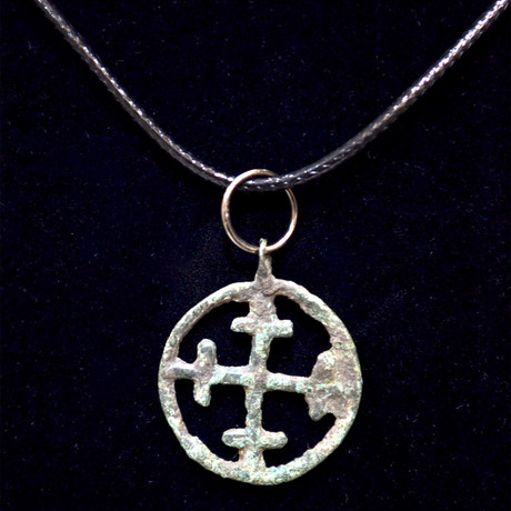 Medieval Crusades Bronze Cross Necklace Pendant // Europe 11-14th Century