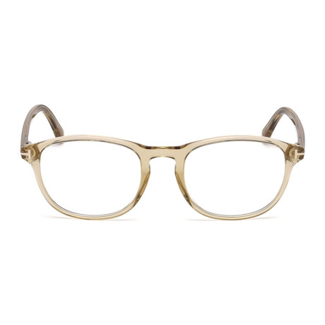 Tom Ford // Men's Classic Round Eyeglass Frames // Beige Crystal