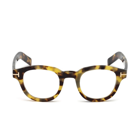 Tom Ford // Men's Thick Round Eyeglasses // Light Havana