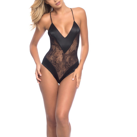 Roxanne // All Over Lace Teddy + Wide Satin Edges (S)