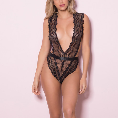 Eliza // Soft Lace Teddy + Wide Waistband, Functional Side Ties & Thong Back // Black (OS)
