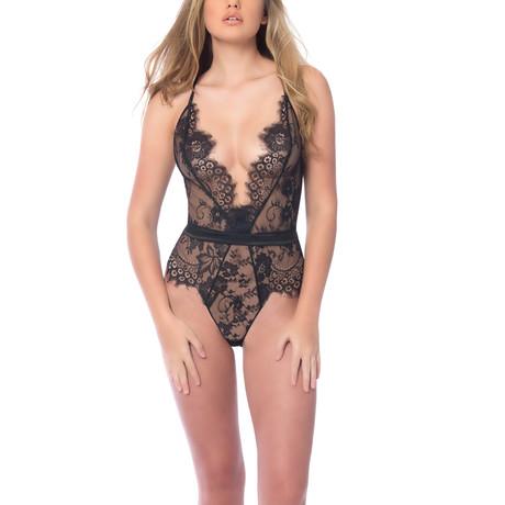 Scarlett // Soft Full Lace Bodysuit + Satin Trims // Black (S)