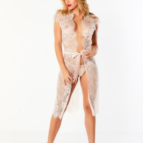 Scarlett // Full Lace Robe + Satin Trims + Cap Sleeves + Open Back // Silver Peony (S/M)
