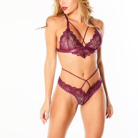 Natasha // Strappy Lace Triangle Bralette & Panty Set (S/M)