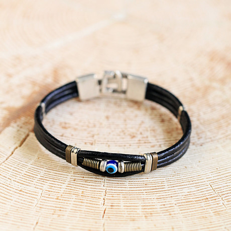 Nazar Beaded Leather + Hand Made Bracelet