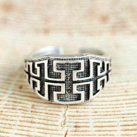 Antique Silver Plated Zamon Ring // Engraved